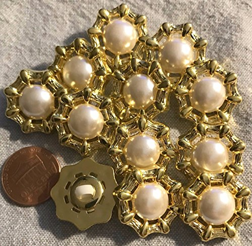 ShopForAllYou Buttons Craft Sewing 12 Shiny Gold Tone Plastic & Faux Pearl Center Shank Buttons 13/16