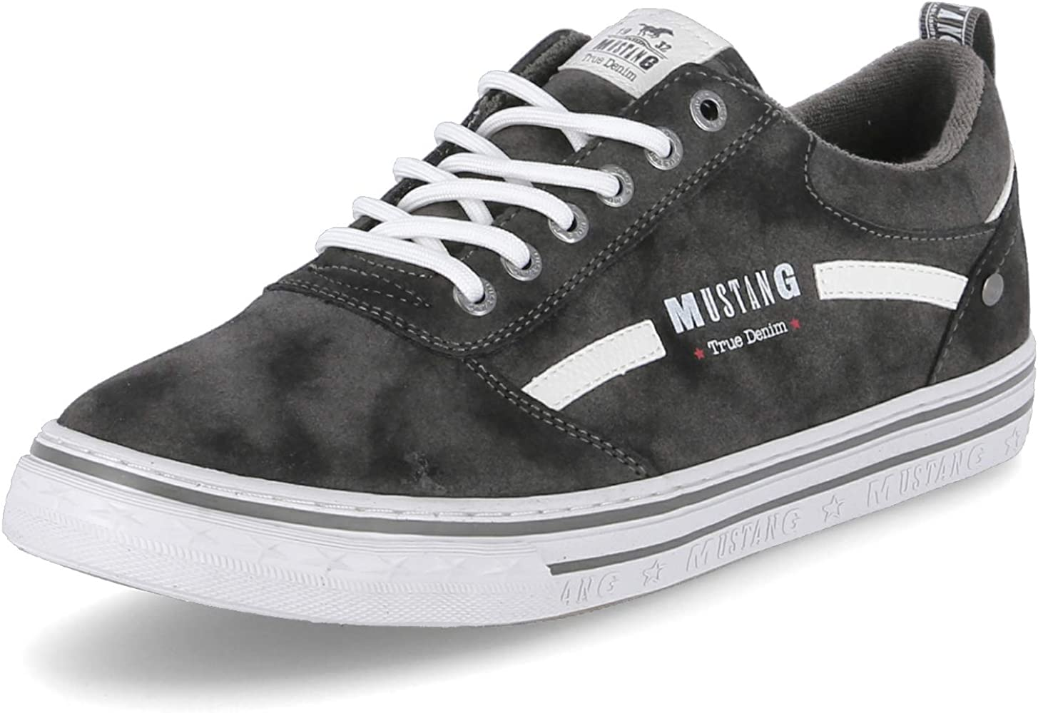 Mustang Lace-up Low Top Mens Grey Synthetic Casual Trainers