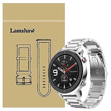 Ceston Metalica Acero Clásico Correas para Smartwatch Amazfit GTR (47mm, Plata)