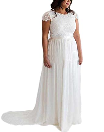 Veilace Women\'s Lace Chiffon Wedding Dress Plus Size Boho Beach A ...