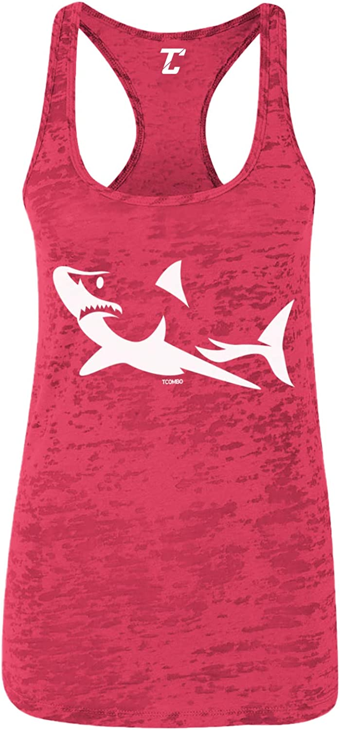 Shark Silhouette - Great White Hammerhead Women's Racerback Tank Top