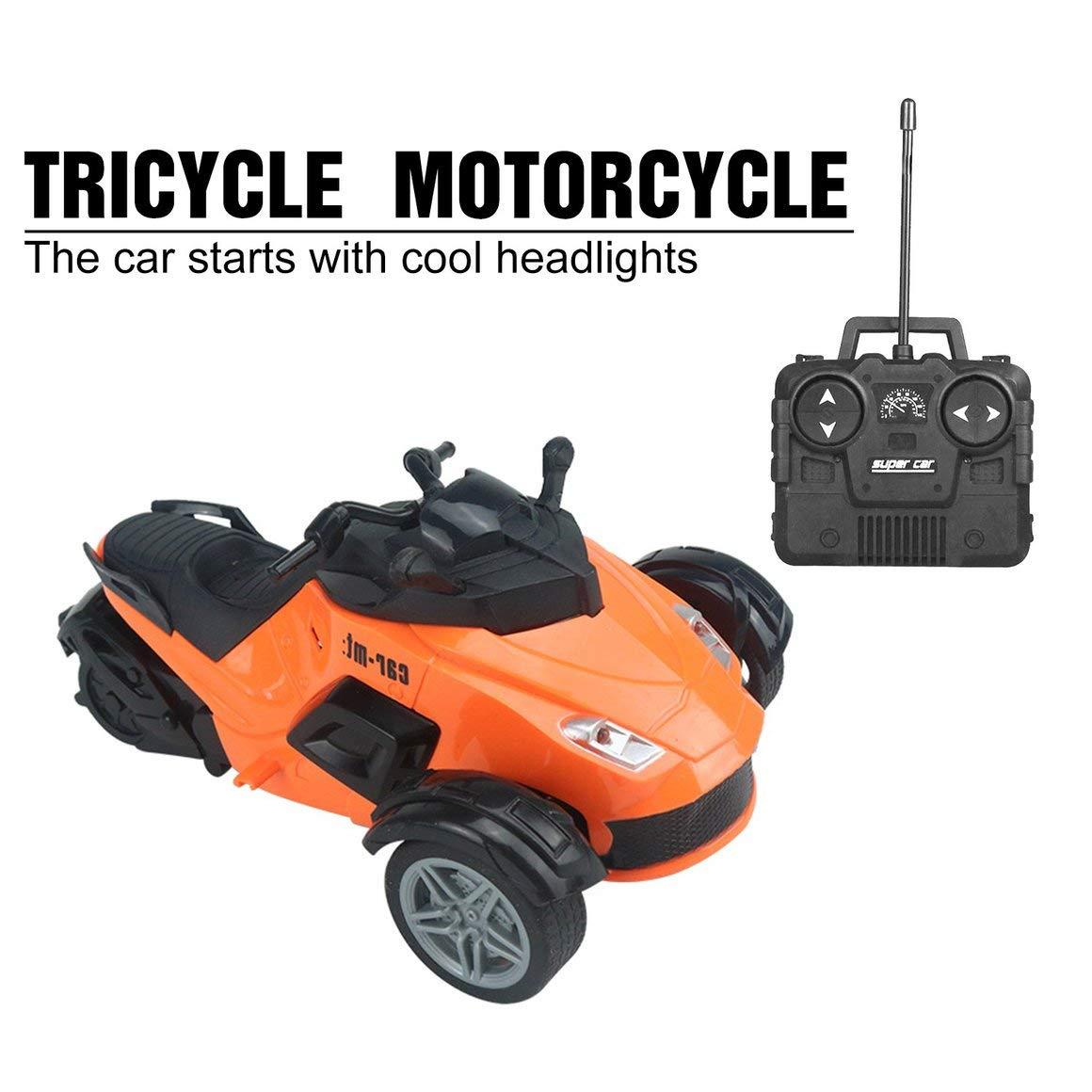 Funnyrunstore 1//14 4CH Control Remoto por Infrarrojos Coche RC Carreras de Alta Velocidad 3 Ruedas ATV Triciclo de Motocicleta Listo para Correr Juguete de veh/ículo Todo Terreno