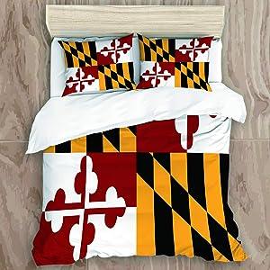 NINEHASA Duvet Cover Set,State Flag of Flag Maryland,New Microfiber 3 Piece Bedding Set with 2 Pillow Shams,Full/Queen