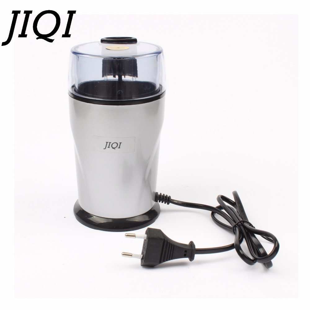JIQI Electric Coffee grinder ELECTRICAL COFFEE herbs mill beans nuts grinding machine stainless steel blades Euro plug (110V)