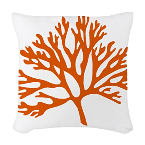CafePress   Red Sea Fan Coral Drawing   Woven Throw Pillow, Decorative  Accent Pillow
