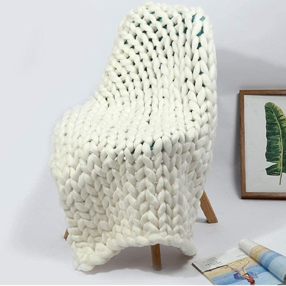 Cubierta de punto de lana Mantas de lana Merino de punto hecho a mano, tejidas hechas a mano manta suave estupenda Fleece Lanza, LIur y Televisión Sofá cama, White-100 * 120 cm, tamaño: 100 * 150 cm,