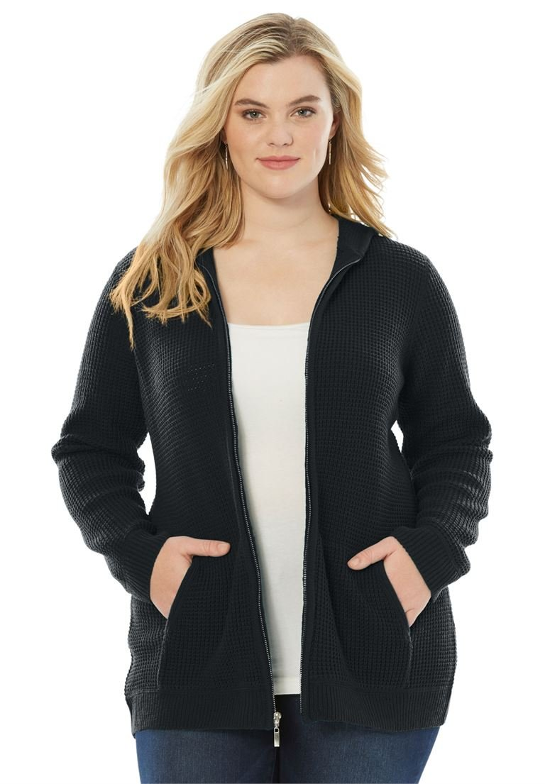 Roamans Women's Plus Size Thermal Hoodie