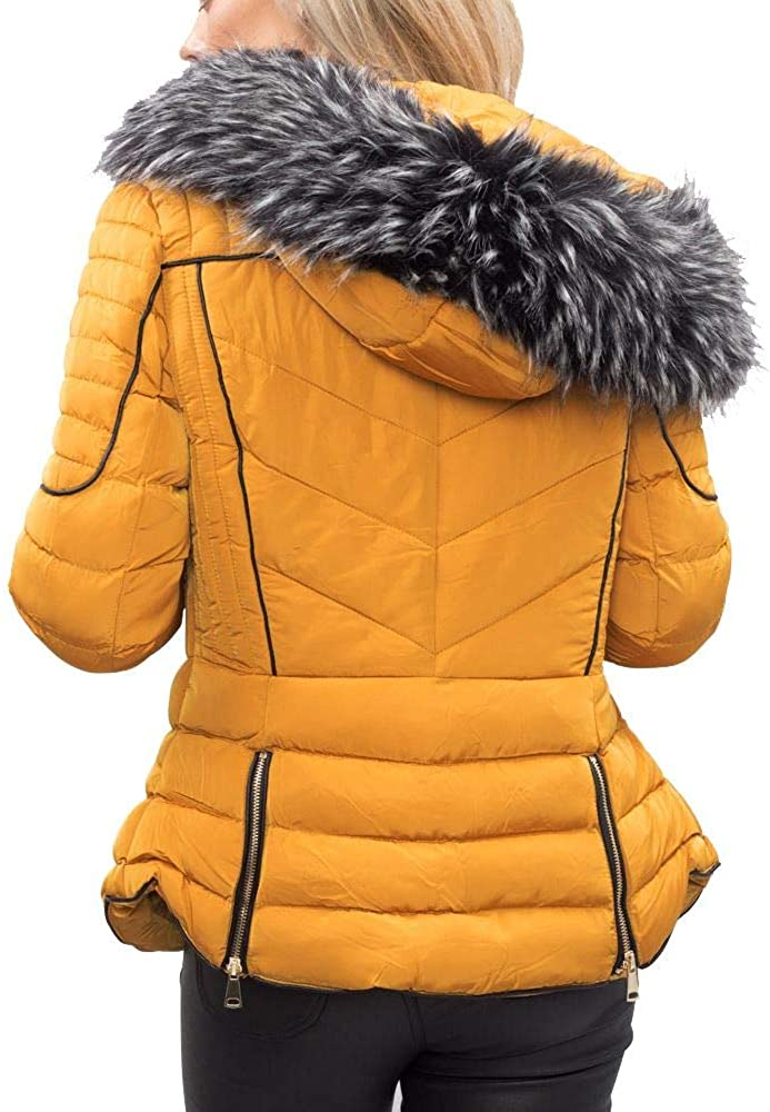 Lily Lulu Fashion Women's Coat Quilted Faux Fur Hooded Padded Puffer Coat Yellow
