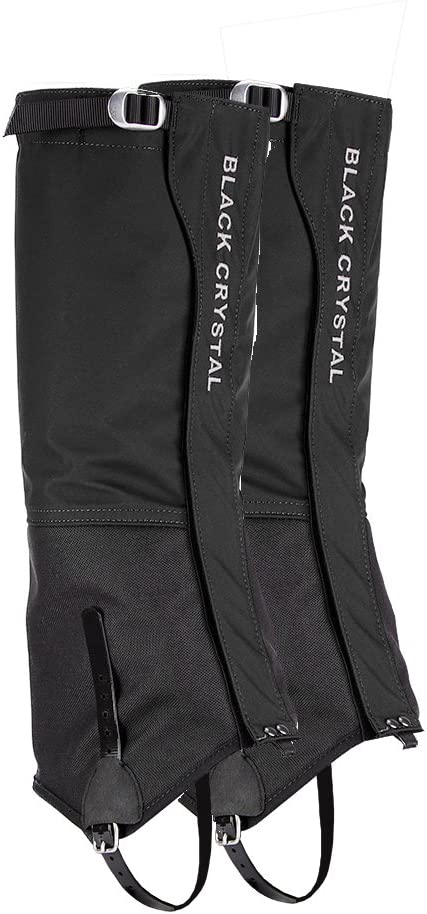 Black Crystal Hiking Ski Snow Gaiters Waterproof Breathable Nylon Men's Black Size Medium