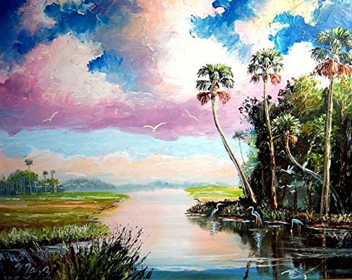 Imagekind Wall Art Print entitled Blue Heron Cove by Mazz Original Paintings | 10 x 8 - Outsider Art Original Painting