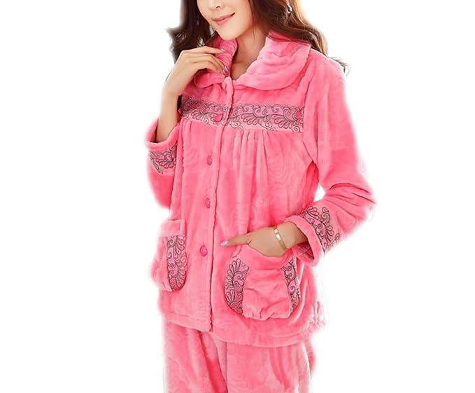 Mujer Otoño E Invierno Botón De Pijamas Gruesas Servicio A Domicilio Cálido Traje De Dos Piezas