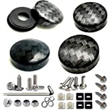 Aootf License Plate Screws with Caps-Carbon Fiber Pattern Screw Black Cover (ABS) and Anti Theft Stainless Steel Rust…