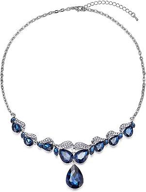 Vintage Fleur Feuille Bleu Zircone Cubique Pendentif En Argent Cuir Noir Collier