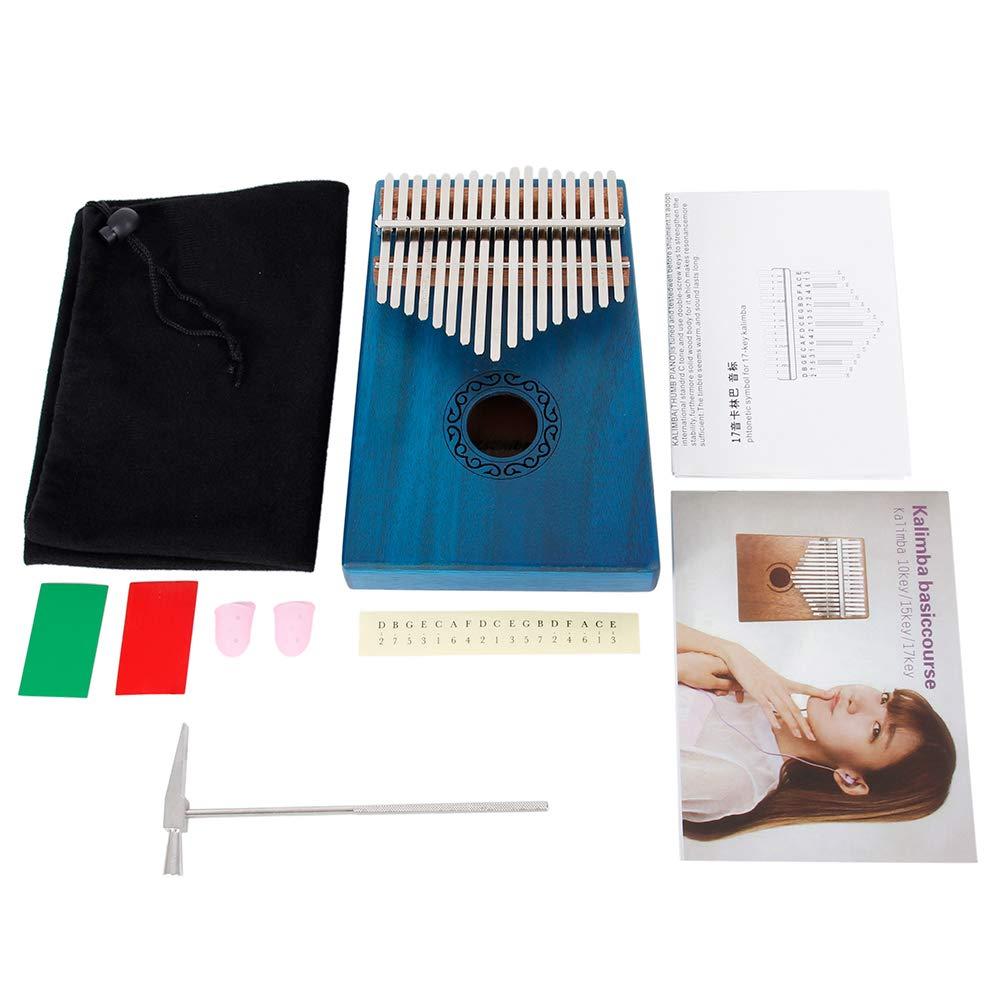 Kalimba 17 cl/és Touche Pouce Piano Professionnel,Doigt Instrument Musique en bois noyer massif Haute Qualit/é bleu