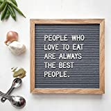 Gray Felt Letter Board 10x10 Inches,Changeable Letter Boards Include 510 White & Gold Plastic Letters + Emojis & Symbols & Vintage Oak Wood Frame | For Home, Restaurants, Cafes, Graduation Gift ideas