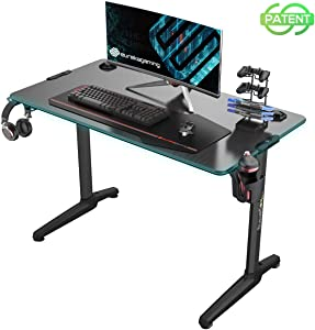 "EUREKA ERGONOMIC Gaming Computer Desk 44"" Home Office Gaming PC Tables New Polygon Legs Design with RGB LED Lights, Colonel Series GIP-44B, Black"