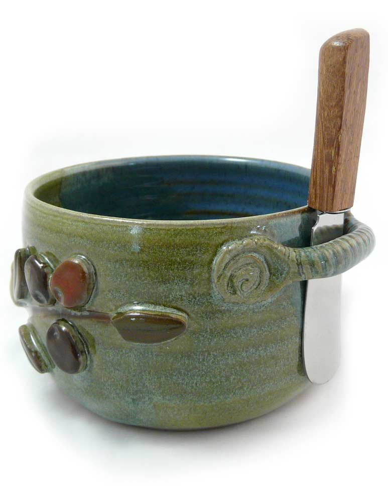 American Made Stoneware Pottery Dip Bowl with Spreader, Mediterranean Olive Branch Motif