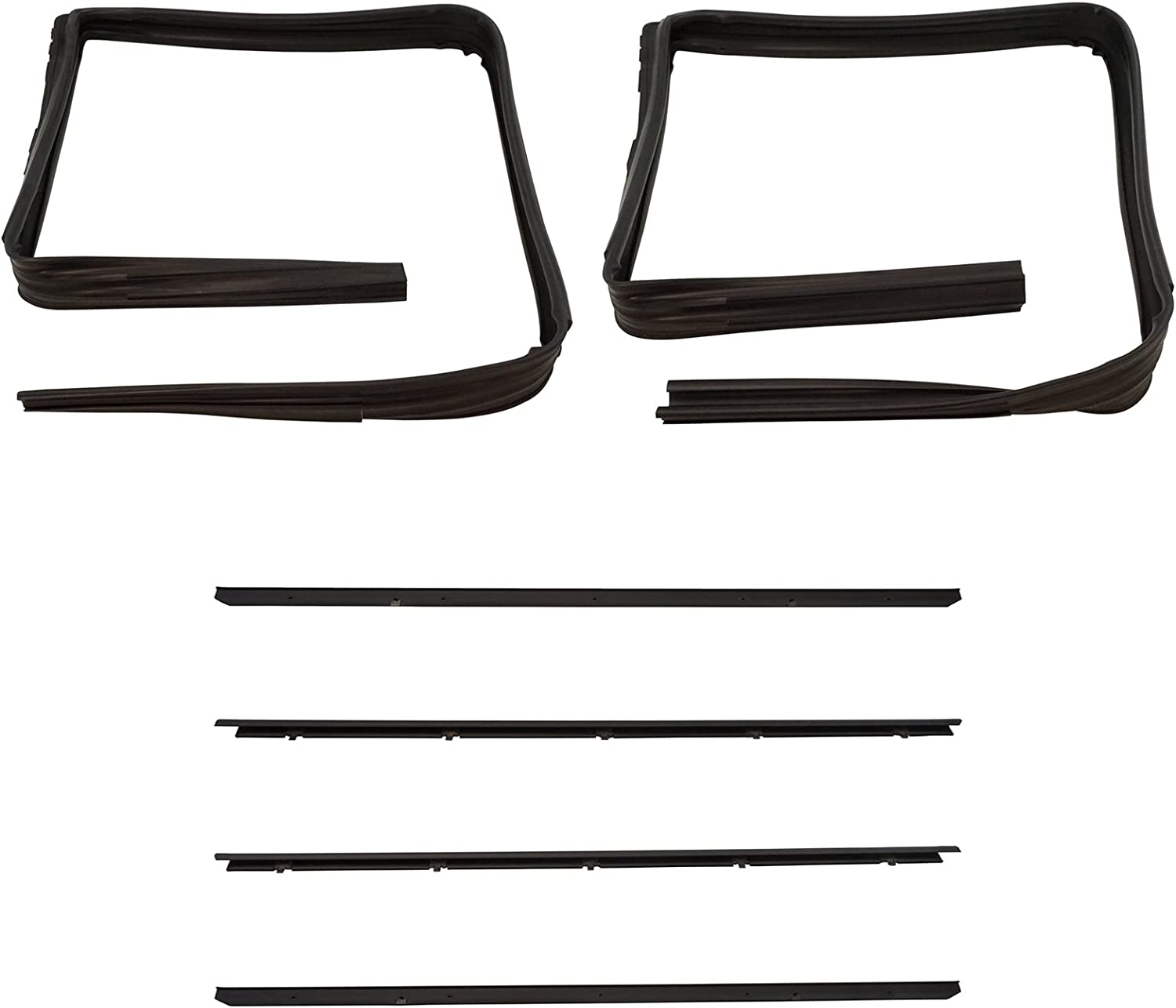 Front Window Sweep /& Run Channel Seal Kit Set for GMC Chevy Blazer Pickup Truck