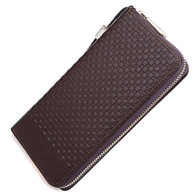 XXIAZHI,Hombres tejen Plaid letra cremallera embrague cartera portátil(color:CAFÉ,size