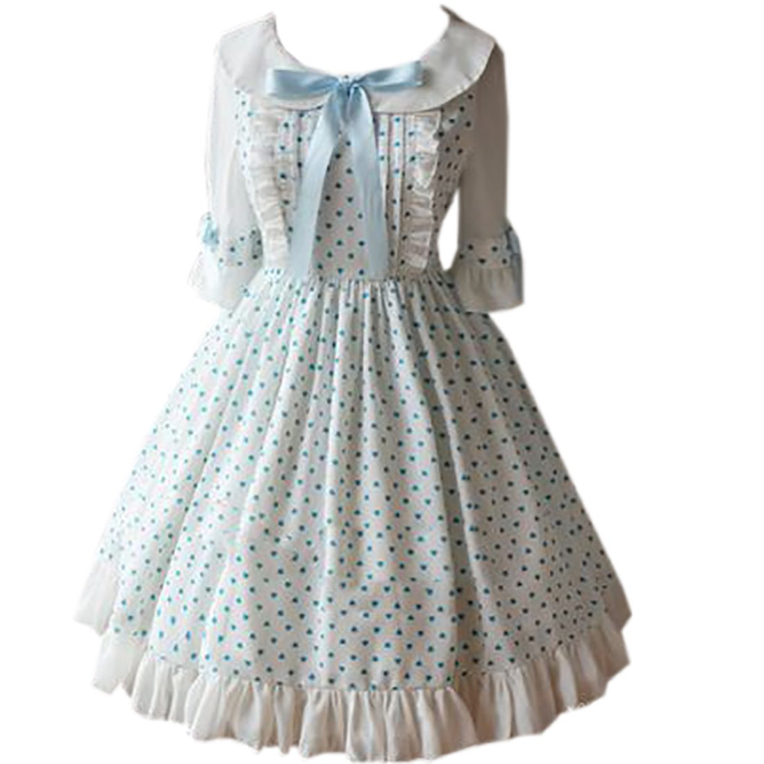 Partiss Women's Sweet Chiffon Turndown Collar Print Lolita Dress Light Blue FY1790913-8