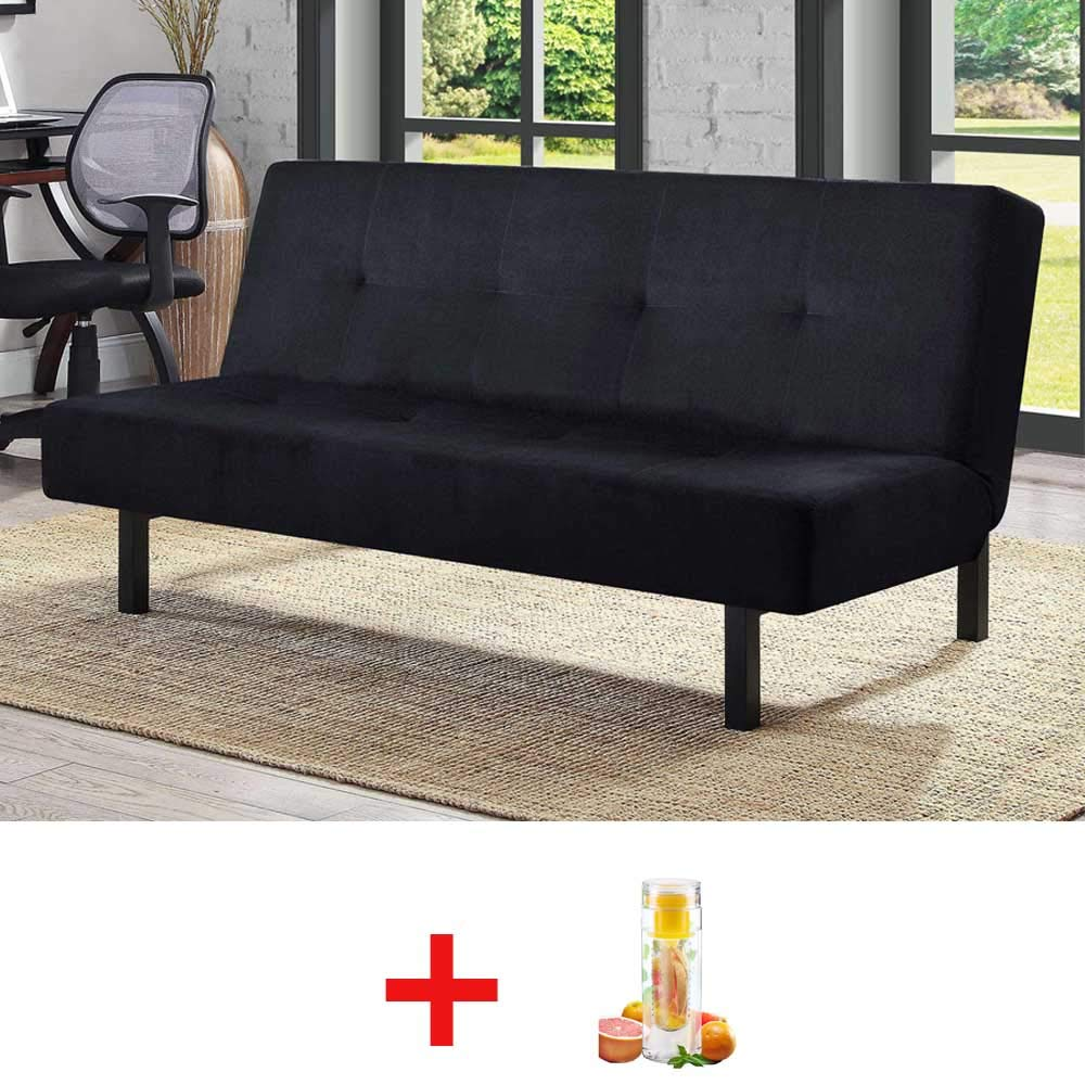 Mainstays 3 Position Tufted Futon with Bottle Black