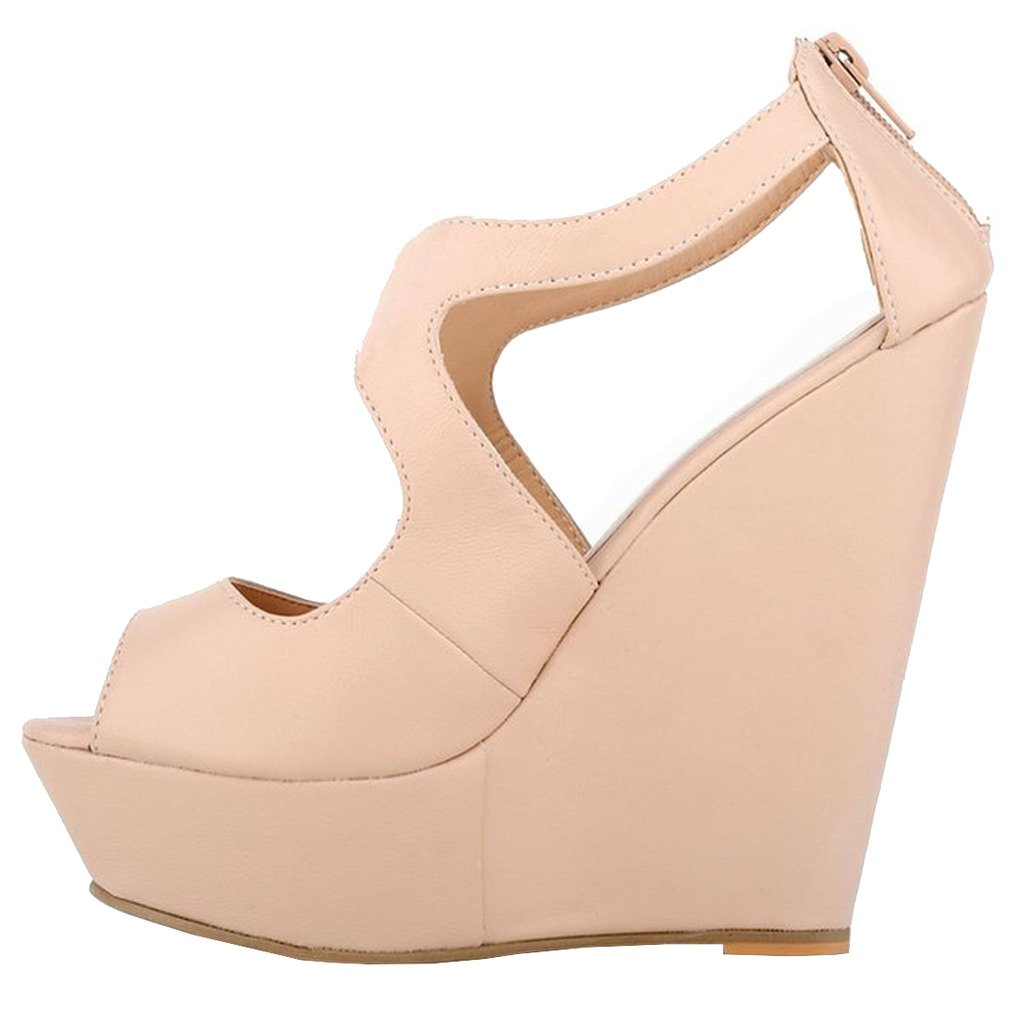 MERUMOTE Womens Wedges Heeled Sandals High Platforms Open Toe Zipper Shoes B01CWM5KNU 15 M US|Matte Nude