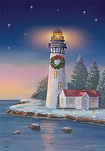 "Briarwood Lane Christmas Lighthouse Nautical Garden Flag Wreath 12.5""x 18"""