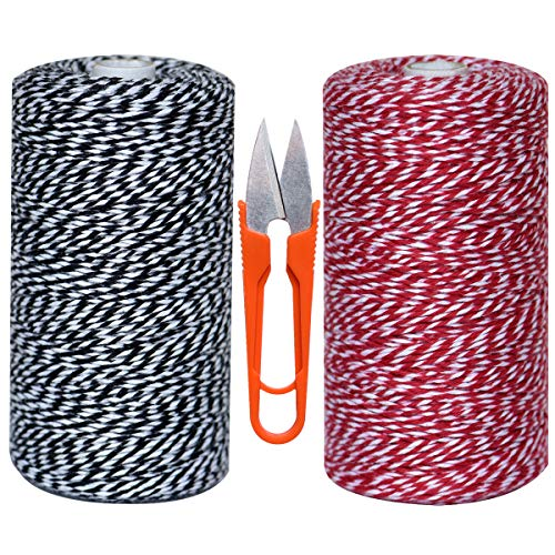 Cotton Bakers Twines 1000 Feet 2 Cotton String Rope Cord Cooking String Cotton Cord Crafts Gift Twine String Christmas Twine with Free Set of 1 U-Shape Scissors for Arts Crafts,Gift ()