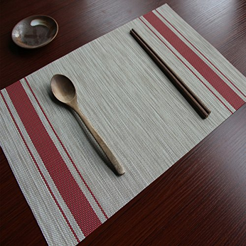 Ruivya Anti-skid Stain Resistant Table Mats Heat-resistant Double Stripes Placemats 009 Set of 4 (Brown Double Insulated Teapot)