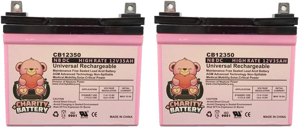 2 Pack Charity Battery 12V 35Ah Pride Mobility Jazzy Select 6 Replacement Battery