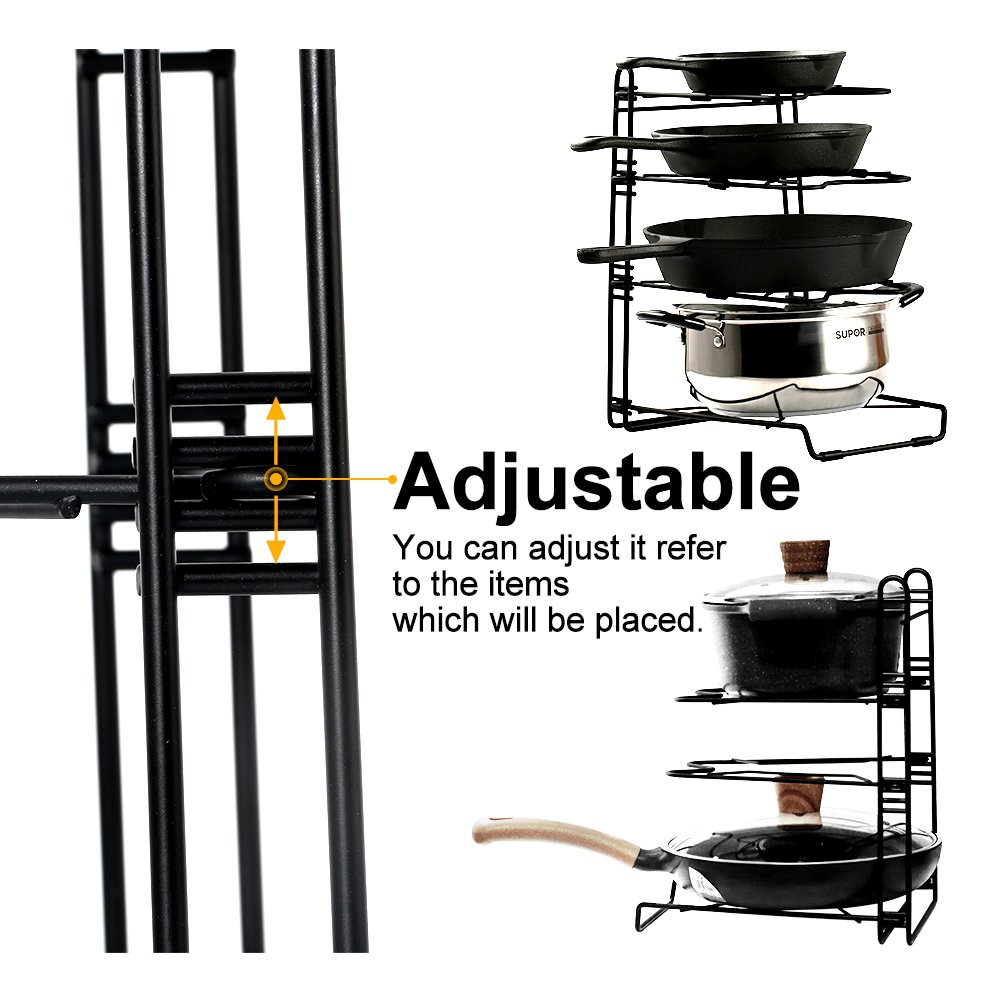 Pans and Pots Rack Lids Holder Detachable Kitchen Cabinet Organizer Stand by jiebolang (Image #2)