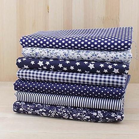 7pcs Square Floral Cotton material costura artesanía Patchwork Toallas (25 X 25 CM), color azul oscuro: Amazon.es: Hogar