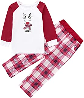 Sagton Christmas Mommy &Daddy&Boy&Girl Family Clothes Set, Deer Plaid Letter Print Top+Pants Outfit