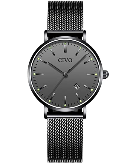 CIVO Relojes Mujer Señoras Ultra Fino Silm Minimalista Impermeable Moda Vestir Elegante Relojes de Pulsera Casual Acero Inoxidable Malla Reloj de ...