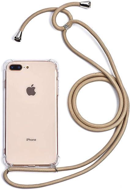 Trop Saint® Coque avec Cordon pour iPhone 7 Plus et 8 Plus en Silicone Transparente Crossbody étui Collier Bandoulière - Beige