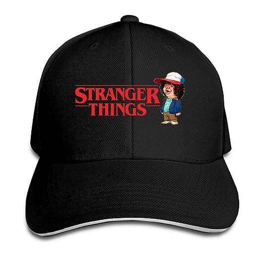2b7e5102af4 NOnoMen Stranger Things Adjustable Sandwich Peaked Baseball Hat For Unisex  Black