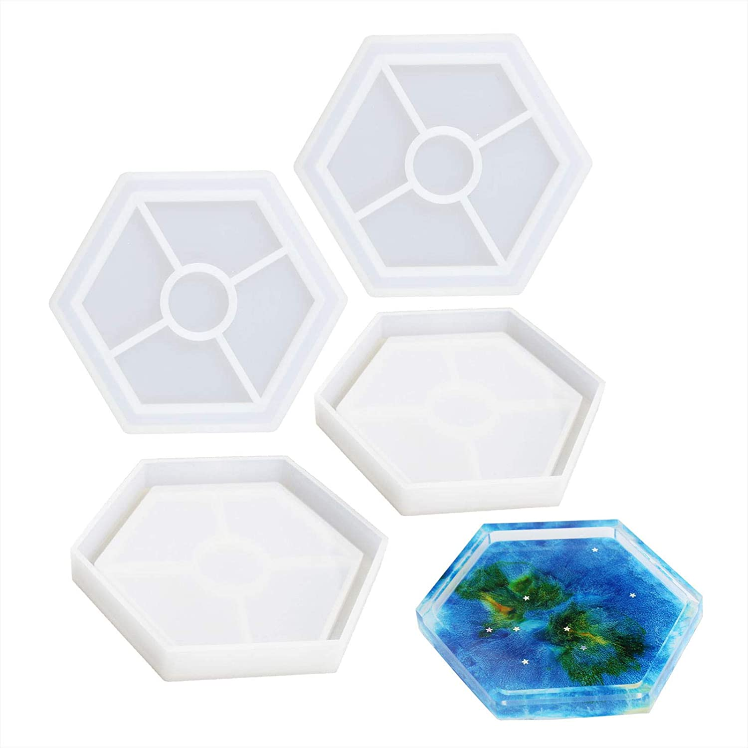 Cement and Polymer Clay 4 PCS DIY Hexagon Coaster Silicone Mold Silicone Resin Mold Clear Epoxy Molds for Casting with Resin Concrete