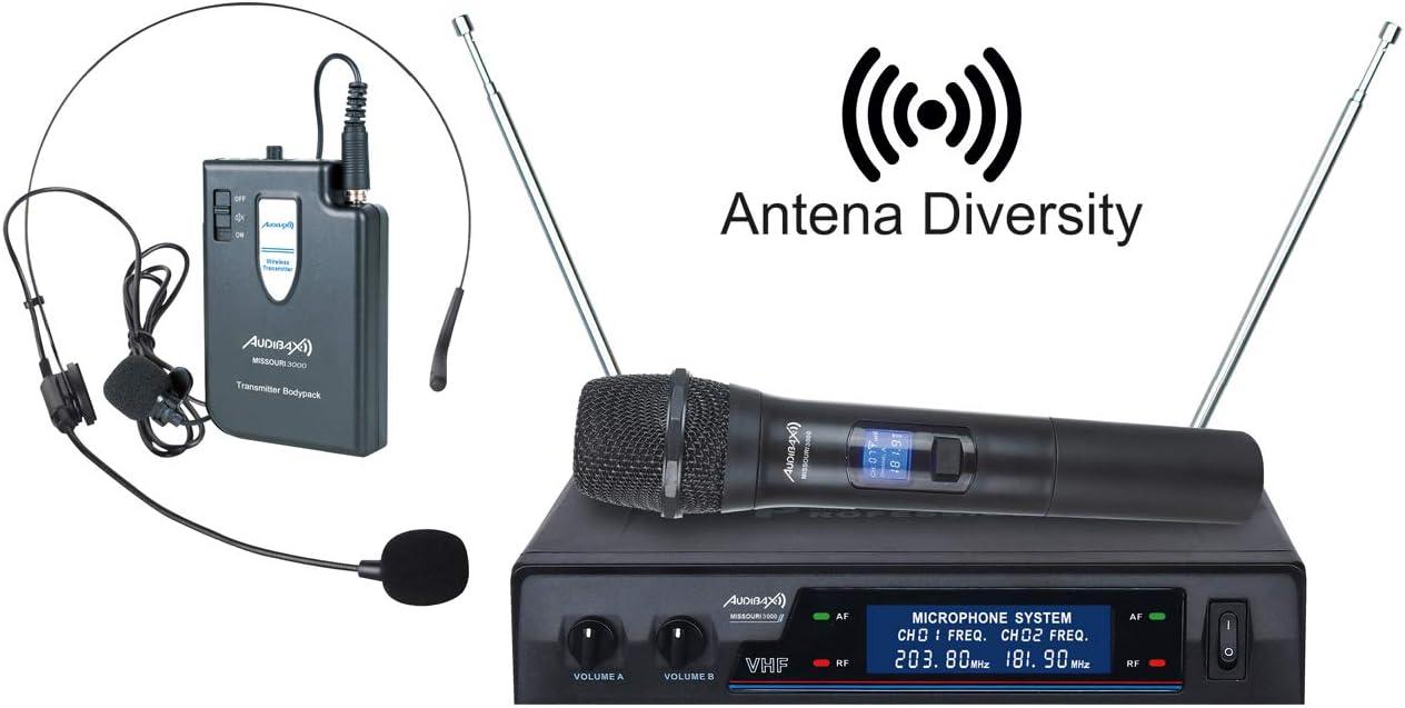 Audibax Missouri 3000 Micrófono Inalámbrico Profesional Doble Mano ...