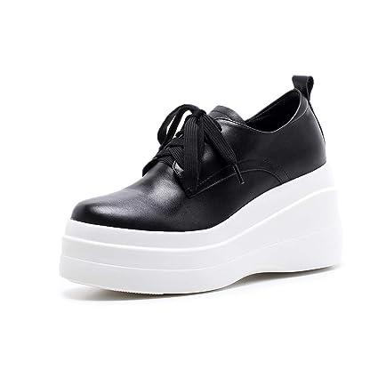 HNShoes Mujer Mocasines Cuñas Tacón Plataforma Blanco Negro Colegio Zapatos Mocasín Cordones Casual Confort Primavera Otoño