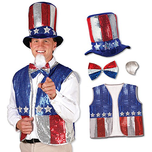 (Red, Blue & Silver Sequined Uncle Sam Set Includes Vest, Top Hat, Bow Tie & Beard)