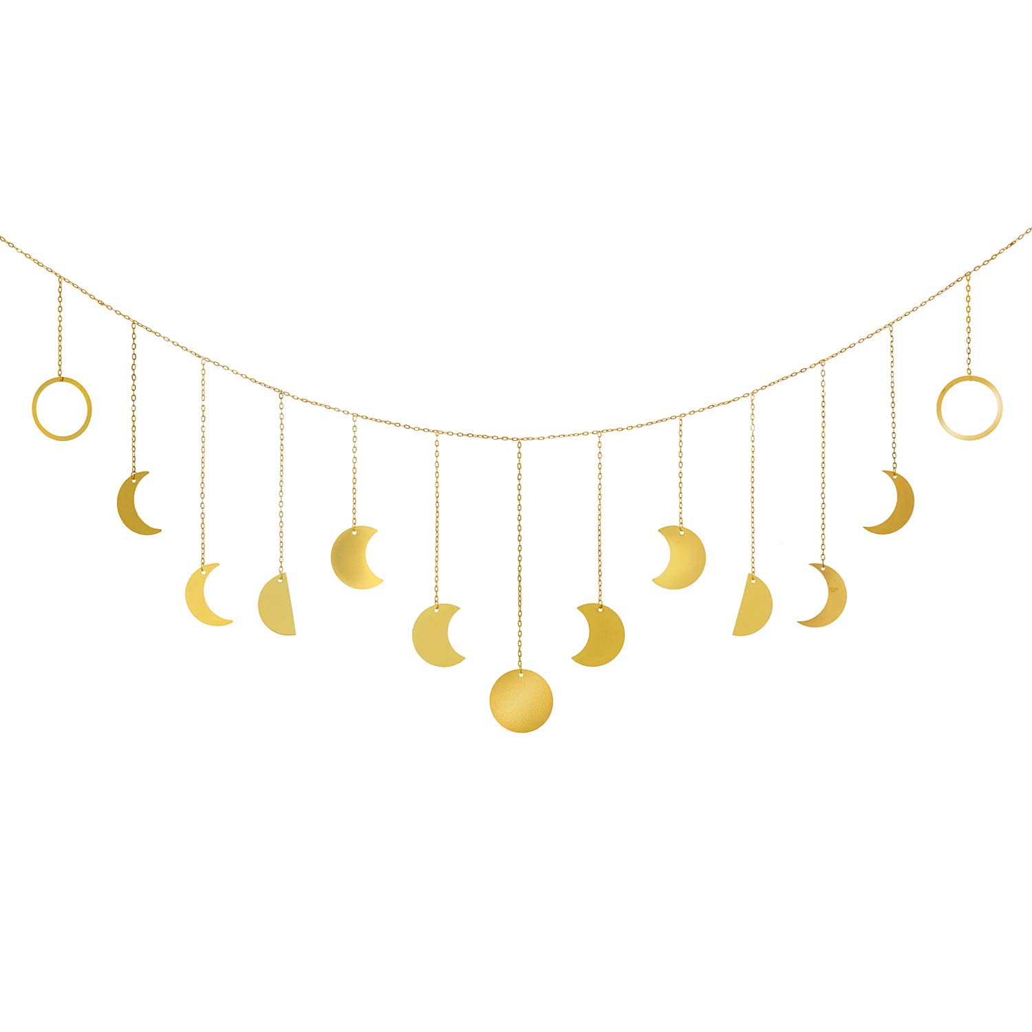 Mkono Moon Phase Garland with Chains Boho Gold Shining Phase Wall Hanging Holiday Ornaments Moon Hang Art Room Headboard Decor for Bedroom Living Room Apartment Nursery Room Dorm, 55""