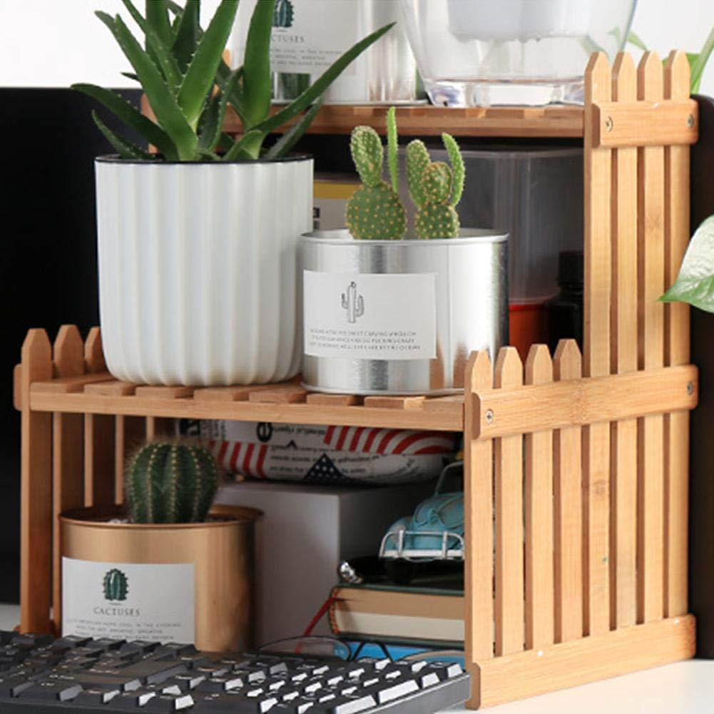 Sensecrol 2 Tier Indoor Plant Stand Tabletop Bamboo Plant Stand Decorative Planter Holder Desktop Flower Pot Shelf Rack For Office Home Stands Plant Containers Accessories