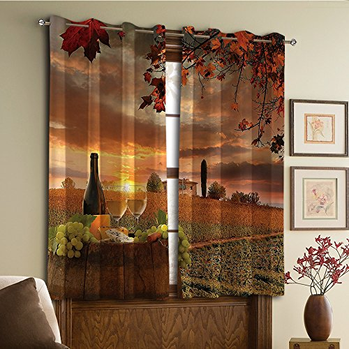 Custom design curtains/Vintage Lace Window Curtain/Grommet Top Blackout Curtains/Thermal Insulated Curtain For Bedroom And Kitchen-Set of 2 Panels(rrel on Vineyard at Sunset in Chianti Tuscany Ital) -