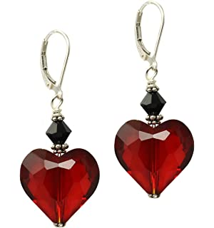 Black Moon® Gothic Victorian Style Dark Red Crystal Heart Pendant on Silver Chain Necklace