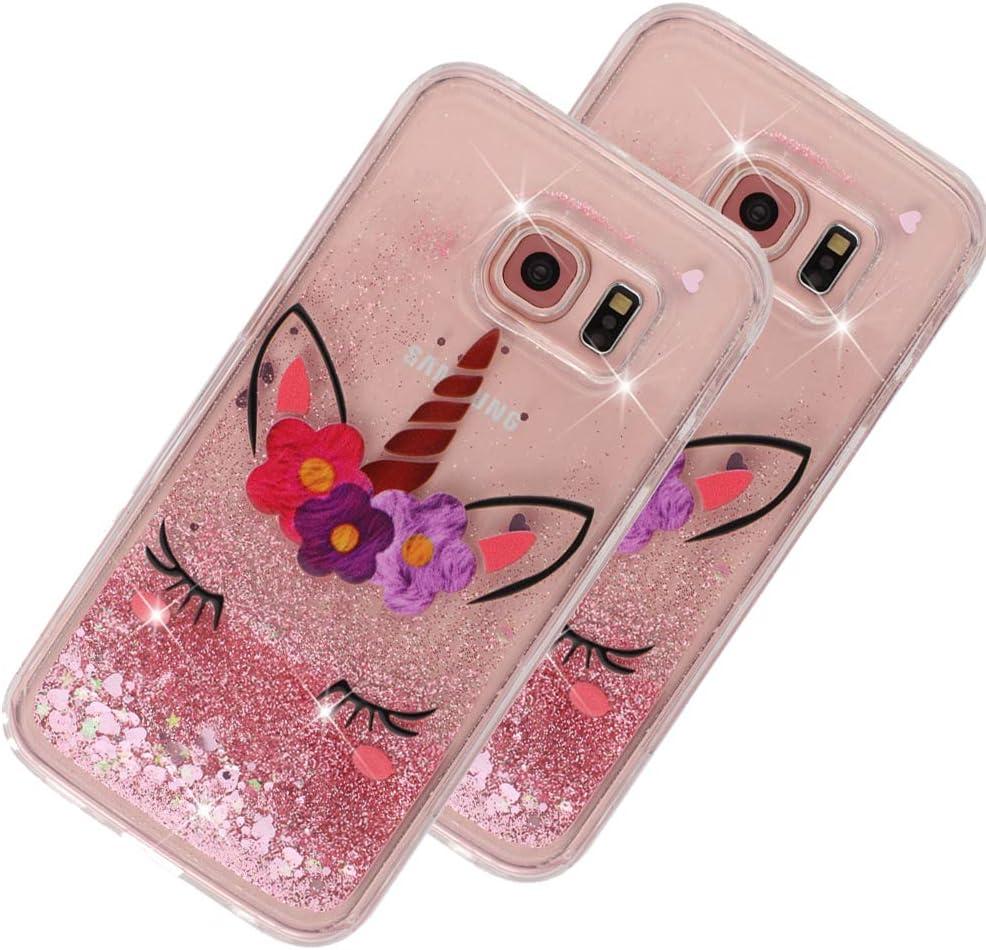 Funda para Galaxy S6 (silicona - unicornio - glitter)