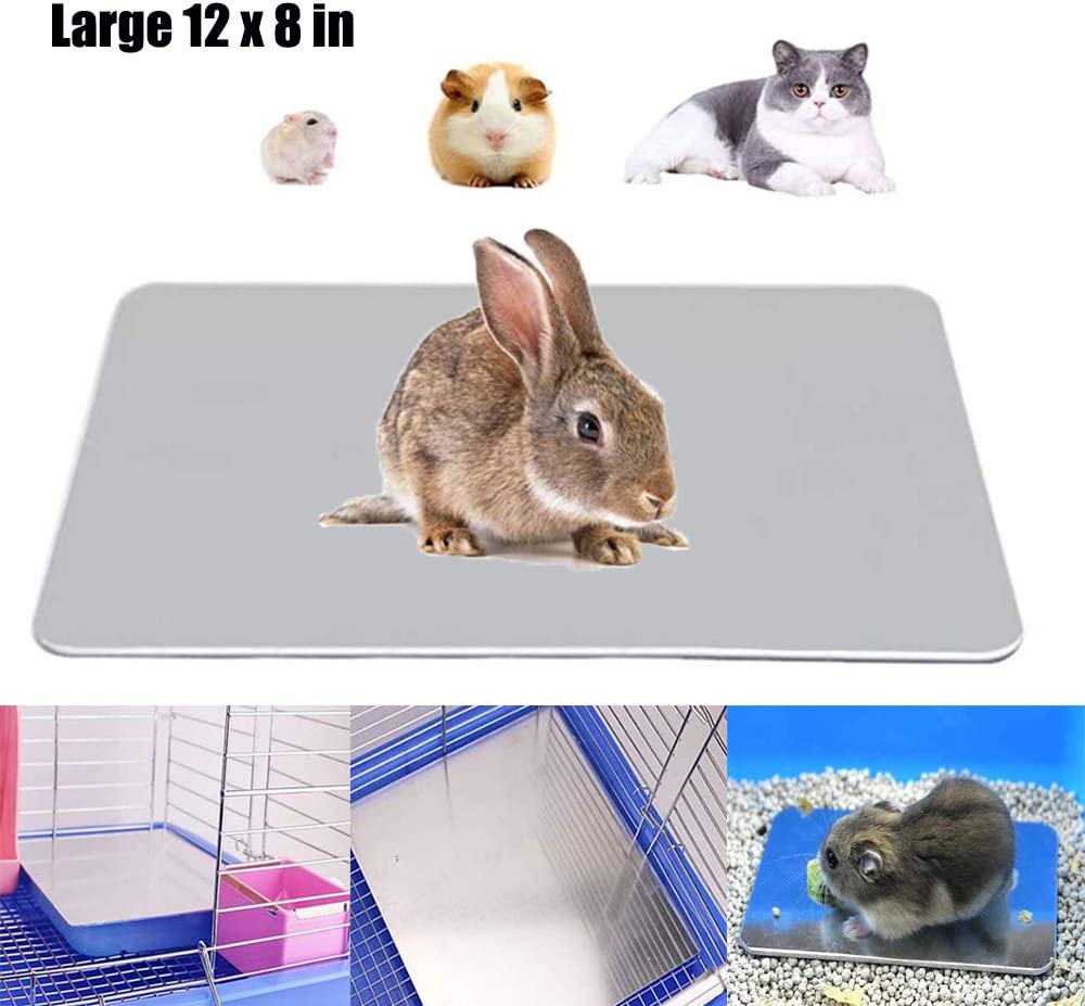 TESLUCK Rabbit Cooling Mat, Aluminum Pet Hamster Cooling Ice Pad for Bunny Puppy Kitten Guinea Pig Chinchilla & Other Small Animals, Pet Cool Plate Ice Bed, Rapid Cooling