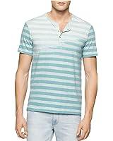 Calvin Klein Mens Faded-Stripe Henley Shirt