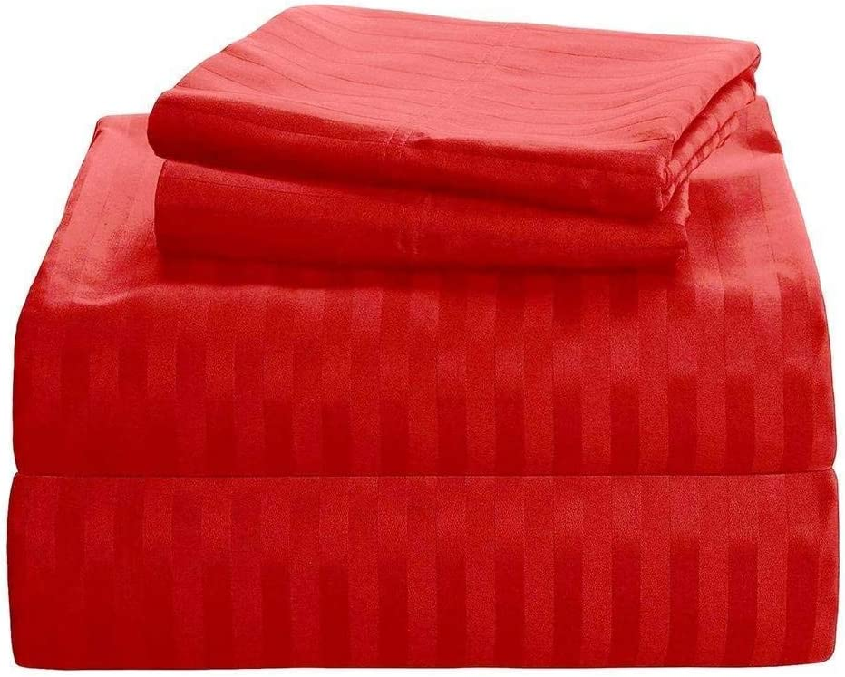Top Selling on Amazon Queen Size Sheets Luxury Soft 550-TC Egyptian Cotton - Sheet Set for Queen Size (60x80) Mattress Fits 7-9 Inches Fully Elastic Deep Pocket (Stripe, Red)