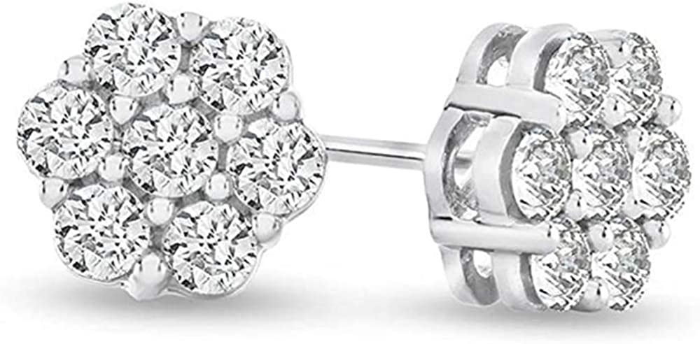 Deal! 0.75ctw Natural Diamond Flower Shaped Halo Cluster Stud Earrings 14K Gold 7mm