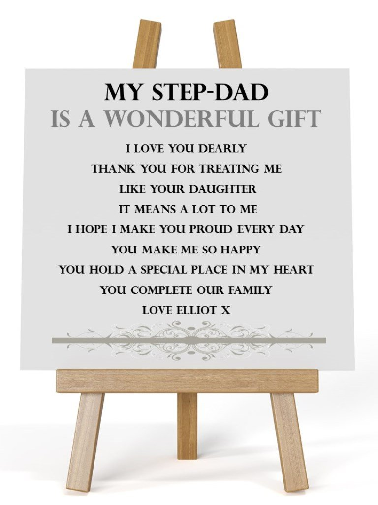 Personalised Wooden Message Plaque Stepdad From Step Daughter